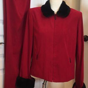 Nina Leonard red and black pantsuit w/fur size 10